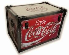 Coca cola huge industrial look storage chest metal strapped trunk 55cm