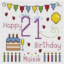 Fat Cat Cross stitch card kit - Twenty First Birthday Bunting