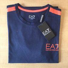 Da Uomo Emporio Armani EA7 T-Shirt Girocollo Blu Scuro Manica Corta Taglia-Medium Rrp £ 90