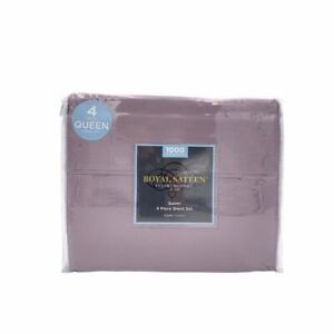 New Royal Sateen 4 Piece Sheet Set Solid 1000 Thread Count Size Queen