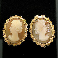 Vintage 18k Yellow Gold Carved Shell Cameo Earrings w/ Etched & Textured Frames