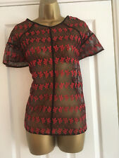 NEXT Ladies Black Red Embroidered Lace Short Sleeved Sheer Top Size 14