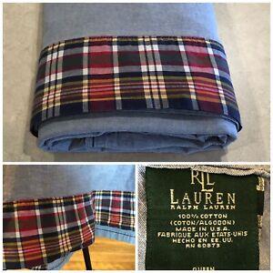 Ralph Lauren Kennebunkport Plaid Chambray Queen Flat Sheet Blue Cotton USA