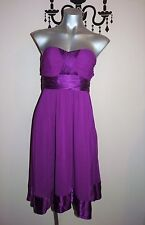 FOREVER NEW STUNNING STRAPLESS MAGENTA SILK PARTY EVENING DRESS SIZE 10