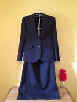 Size 10 14 black grey wool mix tailored fitted skirt work jacket two piece suit