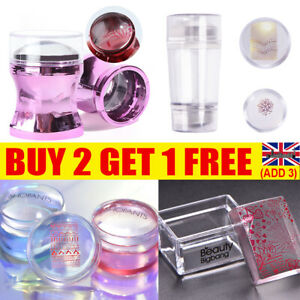 Women Girls Double Head Clear Silicone Jelly Nail Art Stamper Scraper Set Tool