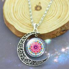 Halskette und Anhänger Mond mit Mandala Muster
