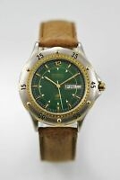 Fossil Mens Watch Day Date Stainless Gold Silver 50m Brown Leather Green Quartz
