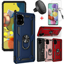 For Samsung Galaxy A71 Case Shockproof Stand Cover HD Tempered Glass+Car Holder