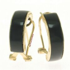 14k Yellow Gold Omega Back Featuring a Bend Tablet Black Onyx Hoop Earrings TPJ