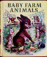 BABY FARM ANIMALS ~ 1950's Childrens Toddler GOLDEN Board Book 1st Ed