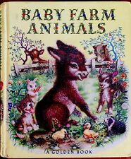 BABY FARM ANIMALS ~ 1950's Childrens Toddler GOLDEN Board Book 1st Ed