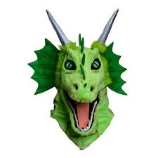 Green Dragon Horned Animal Mascot Moving Mouth Costume Adult Halloween Mask