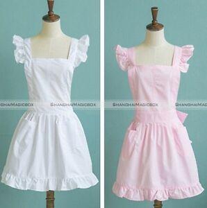 White Victorian Lace Bib Apron Pinafore Maid Cinderella Alice Mrs Santa X'mas