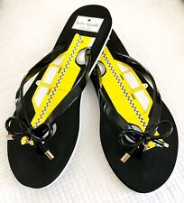 BRAND NEW Kate Spade New York yellow/black/white taxi cab flip flops sandals 7M