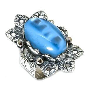 Owyhee Blue Opal Gemstone Handmade 925 Sterling Silver Ring Size 8