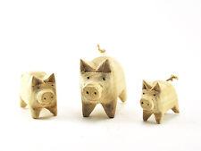 Art sculpture vintage handcarved wood wooden Lovely pigs piggy family figurine