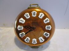 "Vintage Solid copper French made Wall Clock Enameled #/s Vedette 10"" tall"