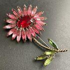 Unsigned WEISS Vintage Pink Green Navette Rhinestone Ruby Flower Brooch Pin 234