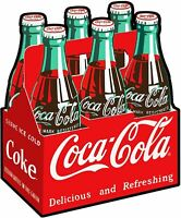 "COCA COLA SIX PACK CARTON OF COKE 20"" HEAVY DUTY USA MADE METAL ADVERTISING SIGN"