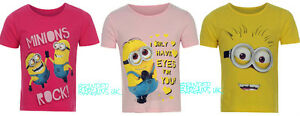BNWT Girls Official Despicable Me 2 MINIONS T-Shirt/Top 2-13y Pink/Yellow Kids