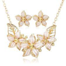Luxus Schmuck Set Halskette Ohrringe Damen gold Strass Hochzeit Kette Mode NEU