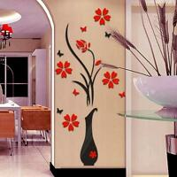 DIY Vase Flower Tree Crystal Arcylic 3D Wall Stickers Living Room Home Decor HOT