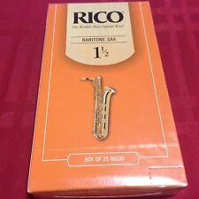 3 RICO BARITONE SAXOPHONE REEDS # 1 1/2 FROM A MASTER PACK OF 25 (1.5) bari sax