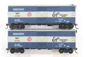 "HO 2 Athearn Bev-Bel Missouri Pacific 40ft SD Box Cars ""Merchandise Service"" 2#S"