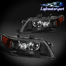 2004-2008 Acura TSX Black Factory Style Projector Headlights Head Lamps Pair