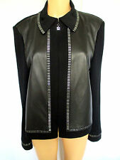 St. John Collection Women's Jacket Size 10 Black W/ Leather & Silver Paillettes