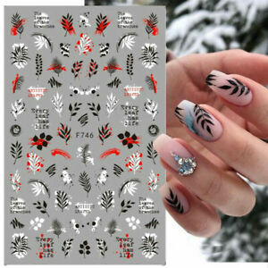 Nail Art Stickers Decals Autumn Winter Fall Flowers Floral Fern Leaf Leaves F746