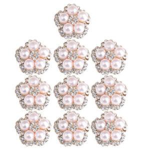 10pcs Flower Pearl Rhinestone Buttons Wedding Flatback Embellishments 17mm