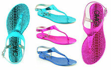 WOMENS LADIES NEW FLAT RETRO JELLY GUM THONG TOE POST SUMMER SANDALS SHOES SIZE