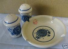 Keramik-Set Salz + Pfeffer-Streuer + Aschenbecher Ton getöpfert handbemalt blau