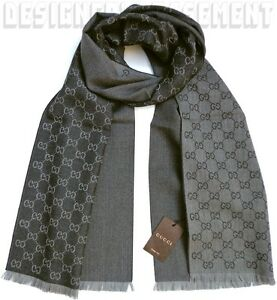 "GUCCI gray/black Wool Jacquard HALF GG unisex 16x74"" Muffler Scarf NWT Authentic"