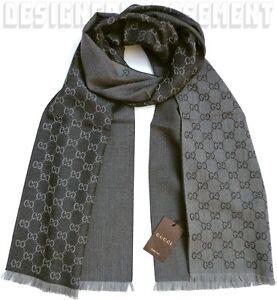 "GUCCI gray/black Wool Jacquard HALF GG unisex 16x74"" Muffler Scarf NWT Authentic"