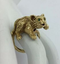 HEAVY SOLID 18K YELLOW GOLD BABY LION CUB EMERALD EYES RING
