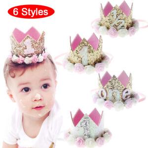 Happy Birthday Lovely Cute Crown Headband Baby Half 1st 02nd 03rd Gift Good ^P1