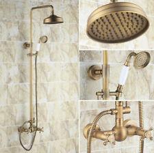 Antique Brass Bathroom Rain Shower Faucet Set Mixer Tap Two Cross Handle frs107