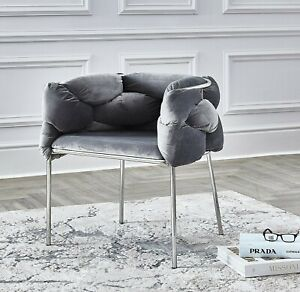 Luxury Light Grey Woven Velvet Dining & Dressing Table Accent Chrome TUB Chairs.