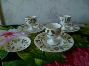 3 Vintage Wedgwood Beaconsfield China Egg Cups & 3 Coffee Saucers / Coasters