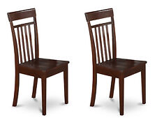 Set of 2 Capri dinette kitchen dining chairs w/ wood seat mahogany by East West