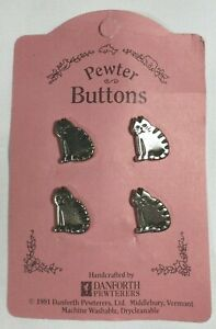 Vtg 1991 Danforth Pewter CARDED Novelty Metal BUTTONS Kitty Cat Sitting