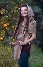 Handmade Hooded Scarf with Hood Kashmiri Light Wool, Grey Brown Hoodie Earthy Tr