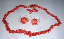 Damen-Schmuck Mode und Antik  Halskette + Ohrclip Koralle