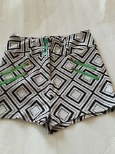 CONNECTION 18 SHORTS SIZE M COLOR BLACK AND WHITE WITH GREEN BUTTONS & ZIPPERS