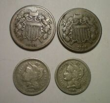 1864 LM VF, 1866  VG TWO CENT PIECE,  1865 AND 1866 THREE CENT NICKEL