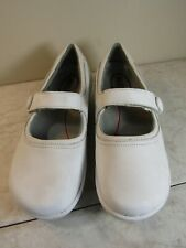 Klogs Work Mary Jane Shoes White Leather Button Strap Women's Size 8 M