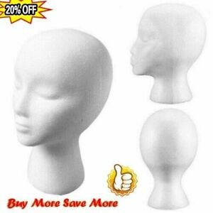 Polystyrene Unisex Foam Mannequin Head Display Models Dummy Female Wigs Stand